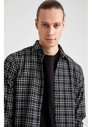 DeFacto Slim Fit Uzun Kollu Ekose Oduncu Gömlek Siyah